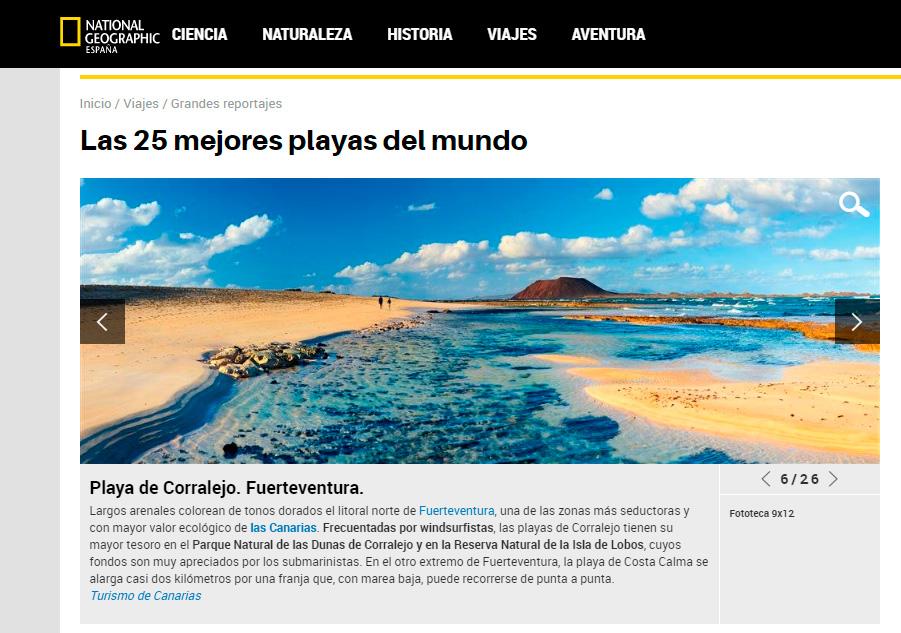 La playa de Corralejo entre las 25 mejores playas del mundo